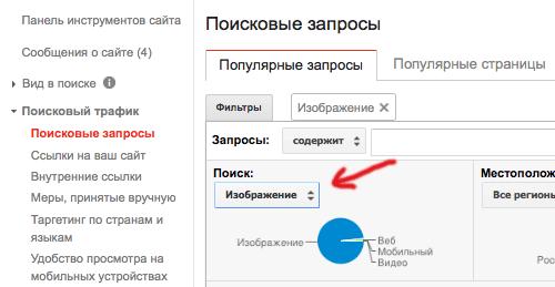 Отчет в панели для вебмастеров по поисковым запросам из поиска по изображениям в Google