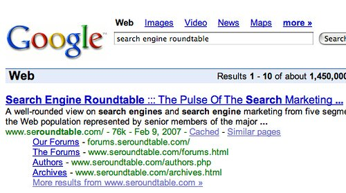 search engine roundtable - Google Sitelinks by rustybrick.